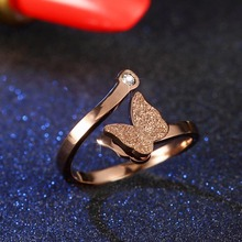 Popular Rose Gold Titanium Steel Ring Jewelry Opening Zircon Frosted Butterfly Female Ring Charm Wedding Ring SL(China)
