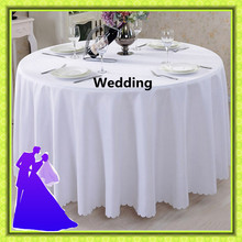 White 108'' round table cloth standard polyester wedding party free shipping decoration(China)