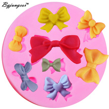 M117 8 Bow Silicone Mold Christmas Fondant Chocolate Molds Wedding Cake Decorating Craft Moulds Candy Soap Molds Kitchen(China)