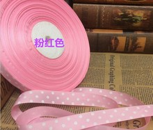 "Free shipping 3/4"" (20mm) Grosgrain ribbon Polka Dots printed Pink ribbon with white dots, DIY hairbow accessories(China)"
