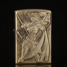 Free shipping Cigarette Accessories Cheaper Emboss Network game characters Kerosene lighters Portable bronze color oil lighter(China)