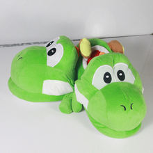 Anime Cartoon Super Mario Bros Yoshi Plush Shoes Home House Winter Slippers for Children Women Men Kids Slippers free shipping