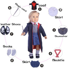 Doll suit Coat + shirt + tie + denim skirt + magic bar + shoes + socks for 18 inch American Girl Doll Accessories n1063