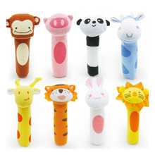 Hot Sale Baby Plush Rattle 15.5cm infant Mobile Bibi bar Toy stick Soft Cat tiger Doll Baby Crib Animal Squeaker Toy Hand Puppet(China)
