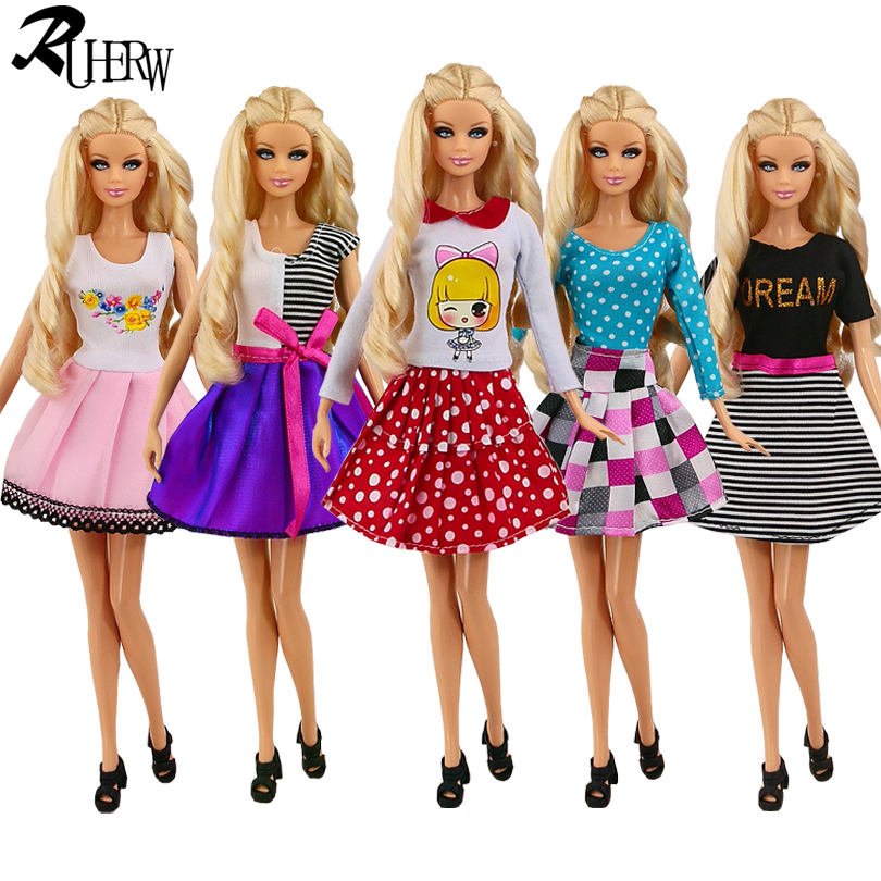 5 Pcs / lot New Mix Color Fashion Party Doll's Dress Clothes Gown clothing For Barbie Free shipping(China (Mainland))
