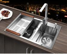 Free shipping trough dual slot 304 thickened stainless steel washing Kitchen Sinks(China)