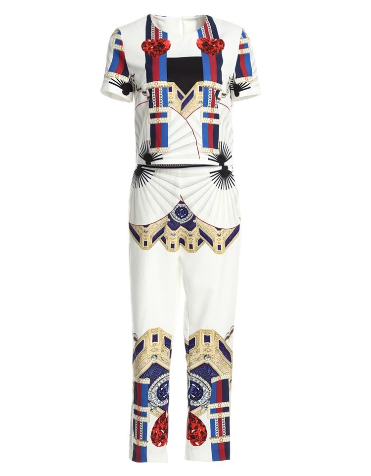 High Quality 17 Designer Runway Suit Set Women's Two Piece Casual Tops + Fashion Print Mid Calf Pants Set suit Free DHL Aramex 11