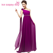 grecian style one shoulder bridesmaid dresses 2017 purple dress top fashion women bridesmaids formal party gown wedding H1796