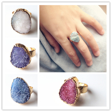 10pcs/lot Various Colors Mixed Free Shipping Druzy Rings Whosale Drusy Druzy Quartz Natural Stone Cutting Stones Rings