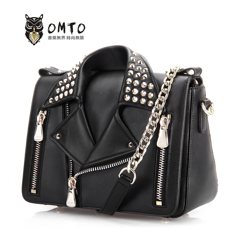 Top quality women leather brands women bag fashion women handbags shoulder messenger bags chain rivet motorcycle bag<br><br>Aliexpress