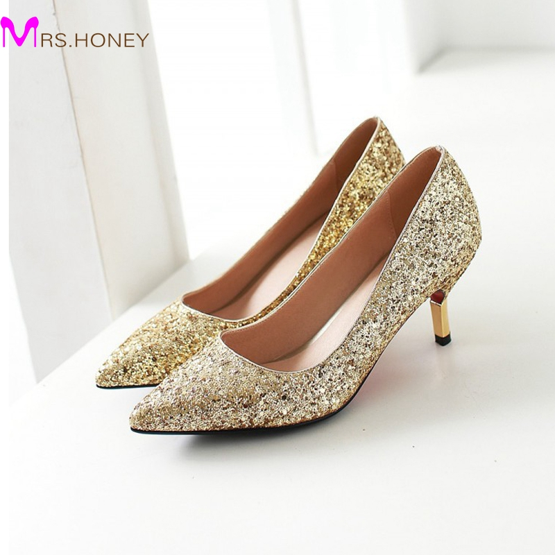 Spring Pointed Toe Women Shoes Comfortable Middle Heel Gold Glitter Sequined Cloth Wedding Party Shoes Bridal Pumps Plus Size<br>