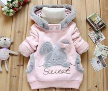 Retail !2016 new childrens  winter clothing coat ,baby girls cartoon rabbit  fashion jacket a hood /winter coat roupa infantil