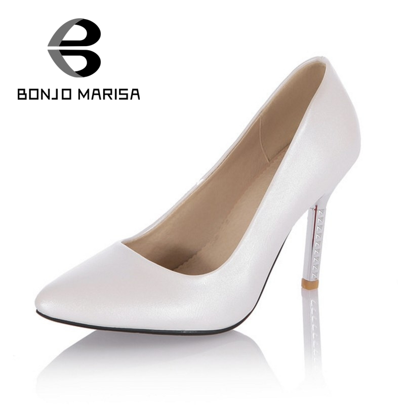 BONJOMARISA New Arrivals Thin High Heels Slip On Women Boots Sexy Pointed Toe Office Lady Shoes Big Size 33-43 Woman Shoes<br>