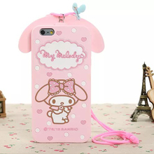 Cute Cartoon Pink Hello Kitty Rabbit Case For Apple iPhone 4 4S 5 5S SE 6 6S Plus 3D Silicone Chockproof Phone Case With Lanyard
