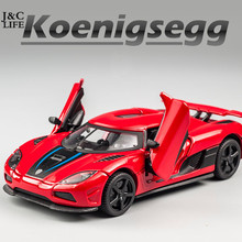 J&CLIFE 1:32 MZ Koenigsegg Car Model Toy Car Metal Alloy Diecast Toy Car Model Miniature Scale Model Sound and Light Cars Gifts(China)