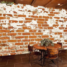 beibehang Simple personality retro red brick wall stereo wallpaper coffee shop leisure bar milk tea shop creative nostalgia wall