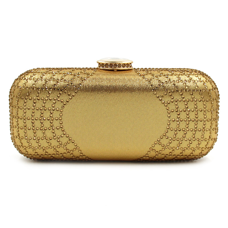 New Women Handmade Beaded Clutch Bag Elegant Crystal Rhinestone Diamond Pearl Evening Party Purse Banquet <br>