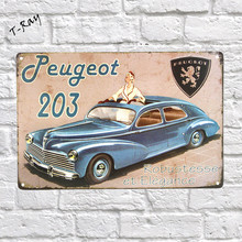Peugeot 203 woman in car Vintage Metal Sign Wall Sticker For Drink bar Pub Cafe Home Wall Decor Art Poster