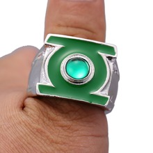 New design classic alloy green lantern ring silver ring for men superhero series  movie jewelry replica men class ring male
