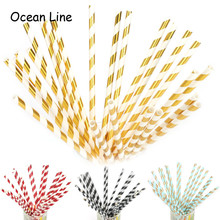 25Pcs Drinking Paper Straws Striped Metallic Gold Wedding Birthday Decoration Baby Shower Event Party Supplies Golden Cups Straw(China)