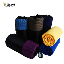 Zipsoft Beach towels Square Fabric Mesh Bag Quick-drying Travel Sports towel Blanket Swimming Camping Yoga Mat 2017 Microfiber(China)