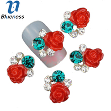 10Pcs New 2015 Gliter Rose with Rhinestones,3D Metal Alloy Nail Art Decoration/Charms/Studs,Nails 3d Jewelry TN683(China)