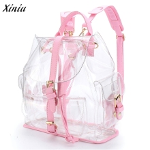 Fashion Design Women's Clear Plastic Backpack See Through Security Transparent Backpack Bag Ladies Travel Bag Backpack female(China)