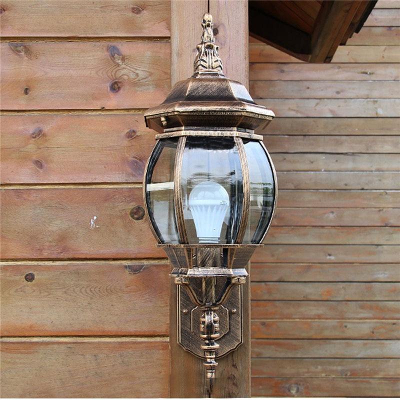 10-20W E27 Vintage Bronze Exterior Wall Lantern Light Lamp Outdoor Garden Yard Porch Corridor Lighting Fixture Lampshade AC 220V<br><br>Aliexpress