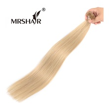 "MRSHAIR 16# Fusion Hair On Capsules 1g Golden Blonde U Tip Hair Straight Non Remy Hair Pre Bonded Hair Extensions 16"" 20"" 24""(China)"