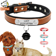 Bell Pendant Leather Dog Collars Adjustable Personalized Padded Pet Name ID Collar Customized For Small Medium Large Dogs Cats(China)