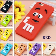 Cartoon M&M Chocolate Candy Rubber Phone Cases For iPhone 6 6S 7 Plus Best Quality Soft Silicone Back Cover For 4 4S 5C SE 5 5S(China)