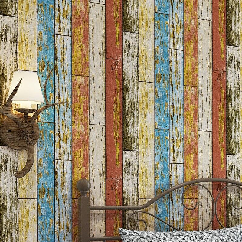 beibehang American retro simulation wood grain wallpaper Western restaurant living room TV background Imitation wood wallpaper<br>