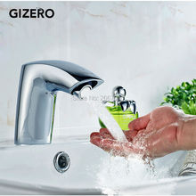 GIZERO Free Ship New Chrome Hotel toilet sensor faucet Bathroom touchless water faucet infrared sensor tap AC/DC Battery ZR6115(China)