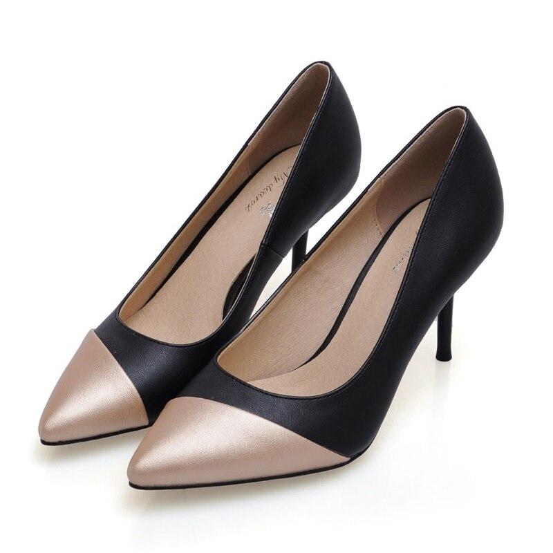 2017 Size 34-41 Fashion Golde Black Sheepskin Sexy Chaussure Femme Talon Women Pumps Ladies Shoes Woman Chaussure Femme<br><br>Aliexpress
