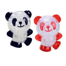 Lovely 3D Crystal Panda Puzzle Toy DIY Cute Panda Model Jigsaw Puzzle Intellectual Toy Nice Gift for Children K5BO