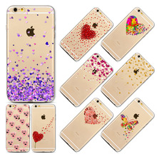Love Heart Phone Case For iphone 7 7 Plus Watercolor Butterfly Pink Love Heart Transparent Silicon Protective Cell Phone Cover