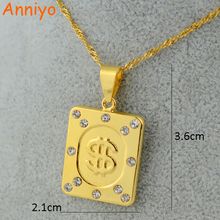 Anniyo Men Coins Pendant Necklace Accessories Gold Color Money US Dollar Sign $ Chain Jewelry Women,Money Maker Gift(China)