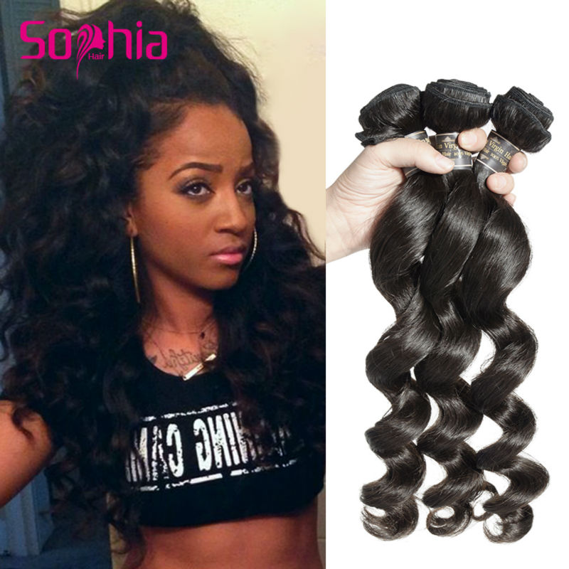 Sophia Hair Products Indian Virgin Hair Loose Wave Cuticle Intact 3Pcs/Lot Top 7A Indian Remy Hair Bundles Raw Indian Human Hair<br><br>Aliexpress