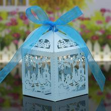 20x Christmas Scene Hollow Out Candy Gift Boxes with Ribbons Decor Sky Blue(China)
