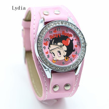 Free Shipping! 1pcs New Pretty Fashion White pink Sexy Betty Boop Womens Ladies Girls Quartz Wristwatch Watches(China)