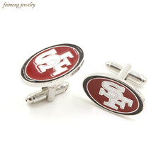 Top Grade San Francisco 49ers SF Football Championship Cufflinks For Mens Silver Plated Enamel 1994 Brand Cuff Buttons Cuff Link(China)