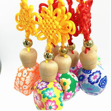 10-15ML half a pack of clay Chinese knot car pendant perfume bottle glass boutique car pendant F20171847(China)