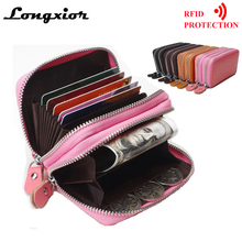 WRF11 RFID Blocking Cards Wallet Brand Genuine Leather Wallet Women Men Double Zipper Large Capacity Business Credit Card Hoder(China)
