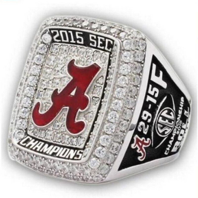 Free shipping 2015 Alabama Crimson Tide SEC Football National Championship Ring Replica men fashion jewelry(China (Mainland))