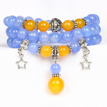 BFQ 2017 Fashion Natural Stone Beads Agates Bracelet Crystal Stretch Bracelets For Women Party Jewelry Star Pendant NB017