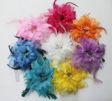 Silk flower Feather Fascinator Flapper Headband Colors Headwear Hair Accessories Clip Brooch Wedding Hairpin BD002