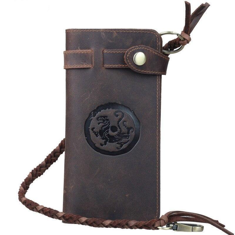 Vintage Genuine Leather Chocolate Men Long Wallet Handmade Male Clutch Notecase Card Holder PR573377<br>