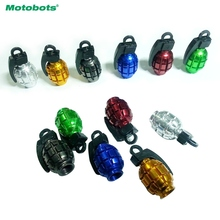 MOTOBOTS 4Pcs Grenade-shaped Alloy Valve Caps Bicycle MTB BMX Tire Valve Anti-Dust Covers Top 6-Color #FD-5489(China)