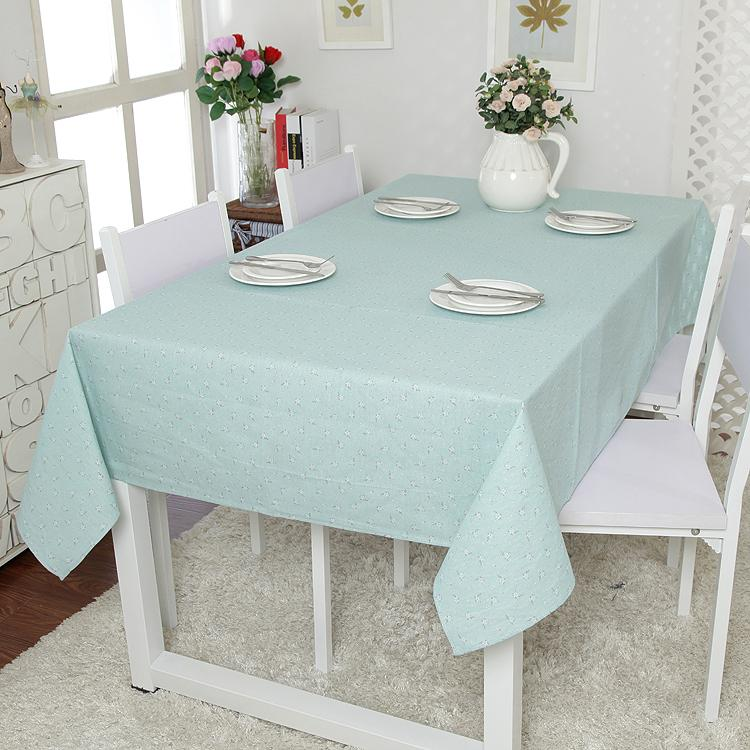 Charming American Pastoral Fresh Cotton Lace Tablecloth Small Floral Blue Tablecloth  Table Cloth Cover