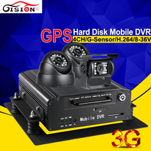 Fast Shipping Online 3G Real Time Hdd Mobile Dvr Cctv Surveillance System Analog Camera Vehicle Recorder Kits With Gps Tracker(China)